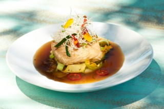 Poached seabass
