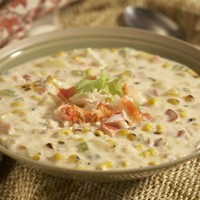 crab and grilled corn chowder