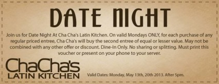 Date Night BOGO @ Cha Cha's Latin Kitchen - Brea | Brea | California | United States