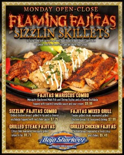 Flaming Fajitas & Sizzilin' Skillets - Baja Sharkeez - Huntington Beach @ Baja Sharkeez | Newport Beach | California | United States