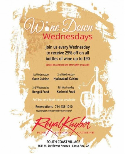 Wine Down Wednesday @ Royal Khyber Fine Indian Cuisine - Santa Ana | Santa Ana | California | United States