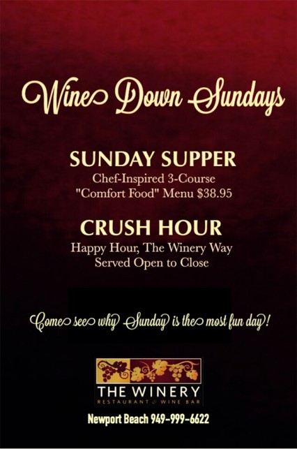 Wine Down Sundays @ Winery Restaurant & Wine Bar (The) - Newport Beach | Newport Beach | California | United States