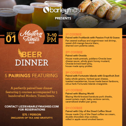 Modern Times Beer Dinner @ Barleymash | San Diego | California | United States