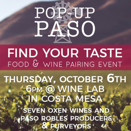 Pop-Up Paso: Find Your Taste Food & Wine Pairing @ Wine Lab - Costa Mesa | Costa Mesa | California | United States