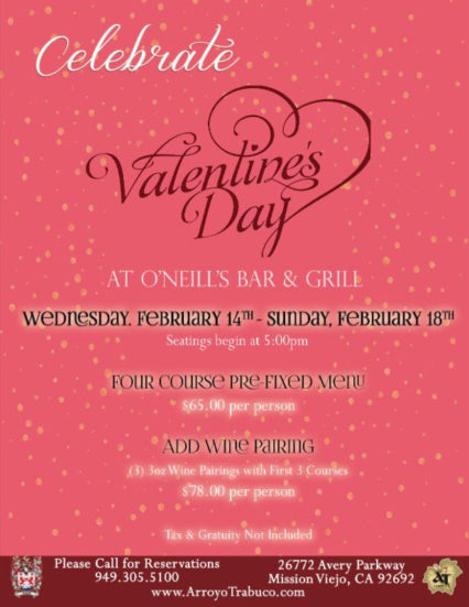 Celebrate Valentine's Day @ O'Neill's Bar & Grill - Mission Viejo | Mission Viejo | California | United States