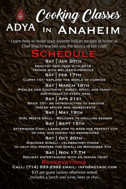 Adya Class Schedule