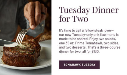 Tomahawk Tuesday for Two @ Flemings Prime Steakhouse - Newport Beach