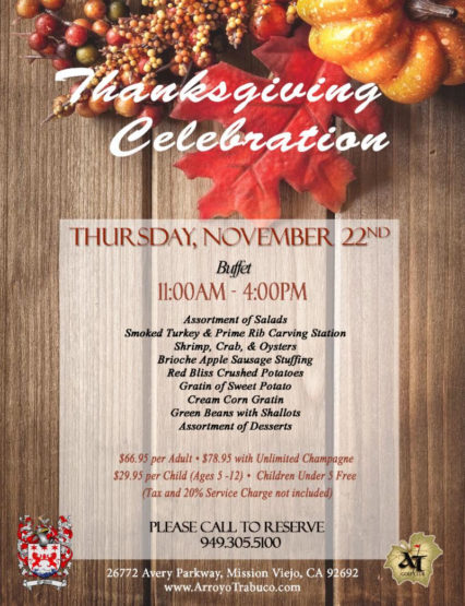 Thanksgiving Celebration Buffet @ Arroyo Trabuco Golf Course - Mission Viejo | Mission Viejo | California | United States