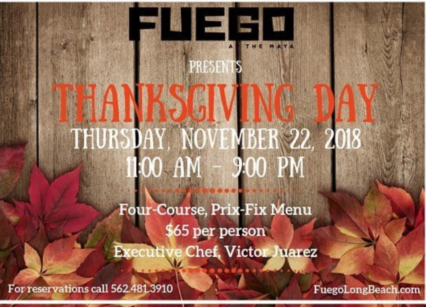 Four-Course, Prix Fixe Thanksgiving Dinner @ Fuego at Hotel Maya - Long Beach