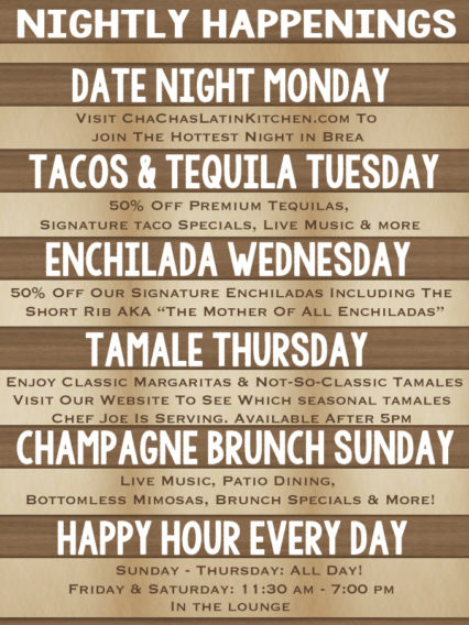 Cha Cha's Weekly Specials