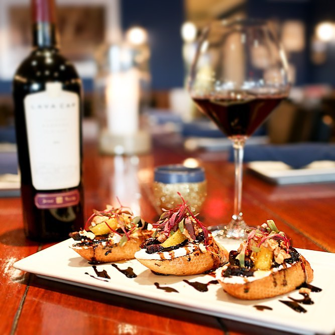 Sealegs Wine Bar Goat Cheese, Figs, balsamic reduction and honey