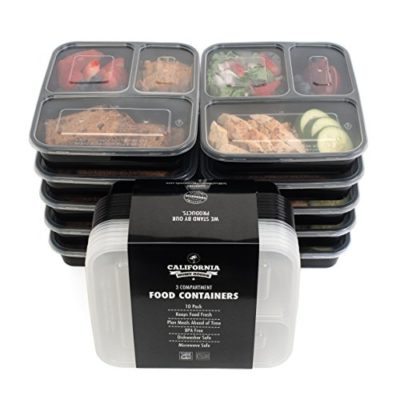 California Home Goods 3 Compartment Reusable Food Storage Containers With Lids Microwave And Dishwasher Safe Bento Lunch Box Stackable Set Of 10 0 Jpg
