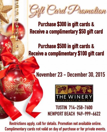 Winery Gift Cards