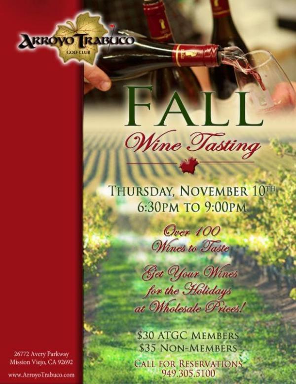 Arroyo Trabuco Fall Wine Tasting