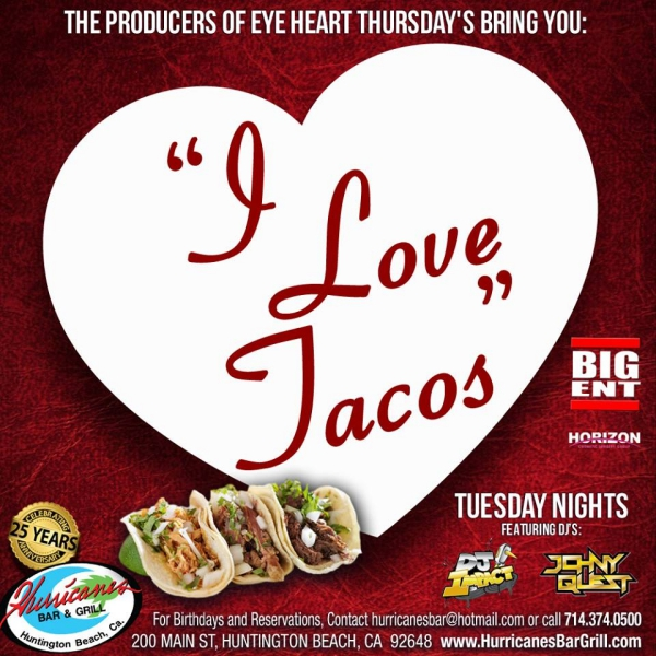 Hurricanes Bar And Grill I Love Tacos Flyer