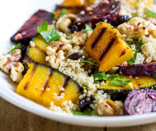 Plant Based Cooking Class Quinoa With Grilled Pumpkin And Beetroot Salad By Vinaigrette