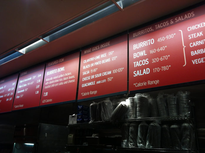 Chipotle Calorie Postings On Menu Photo Courtesy Of Flickr