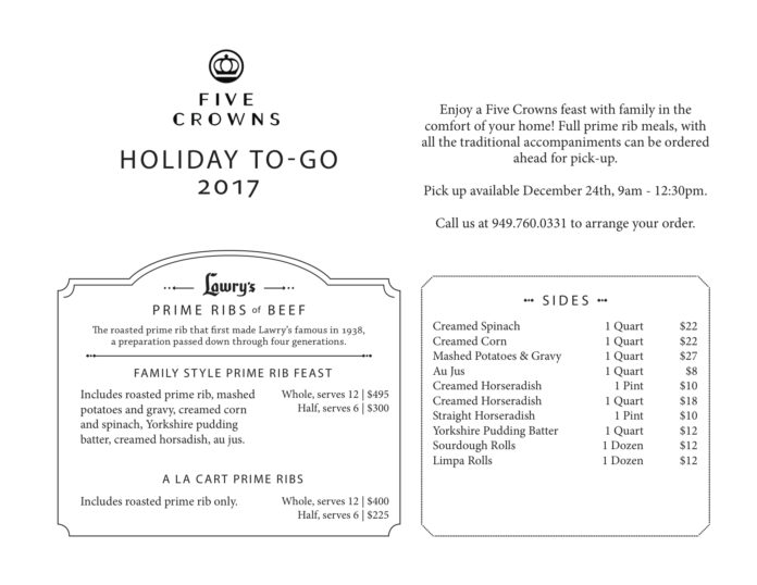 Five Crown's Holiday ToGo