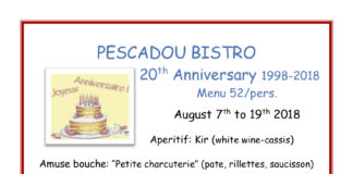 Pescadou 20th Anniversary Dinner 1998 2018