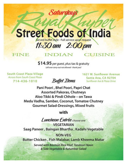 Saturday Street Food Luncheon @ Royal Khyber Fine Indian Cuisine - Santa Ana | Santa Ana | California | United States