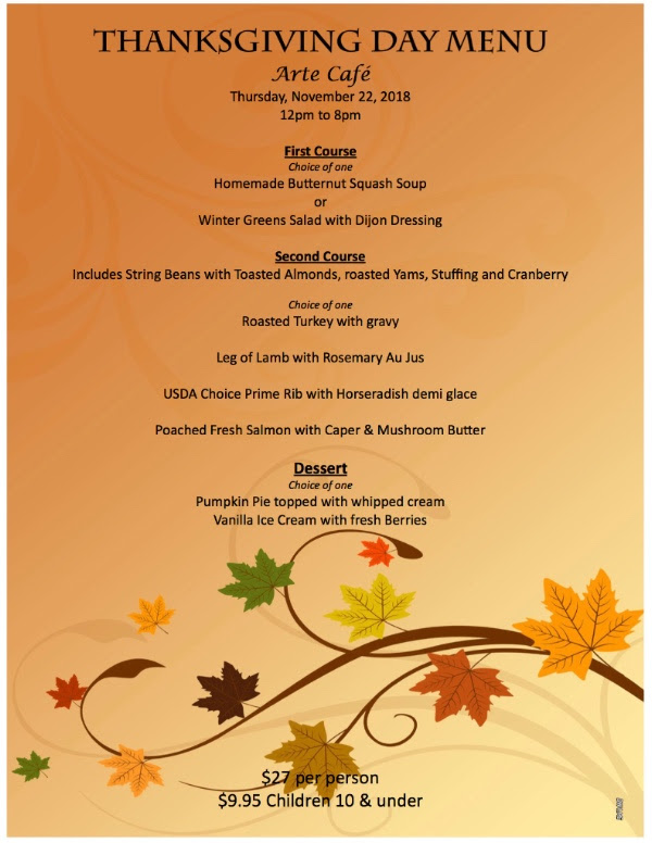 Special Thanksgiving Day Menu Great Taste Events