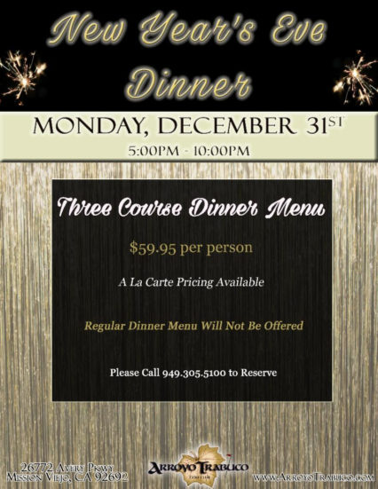 Three-Course New Year's Eve Dinner @ Arroyo Trabuco Golf Course - Mission Viejo | Mission Viejo | California | United States