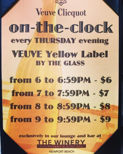 On-the-Clock Veuve Hour @ Winery Restaurant & Wine Bar (The) - Newport Beach | Newport Beach | California | United States