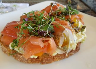 Andrei's Salmon Toast - Gravlax, free-range California egg salad, tomato, shaved red onion, capers, and grilled sourdough bread