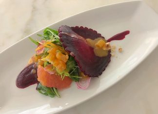 Selanne Steak Tavern Beet Ravioli Salad