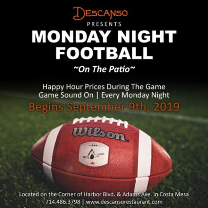 Happy Hour Monday Night Football @ Descanso- Costa Mesa | Costa Mesa | California | United States