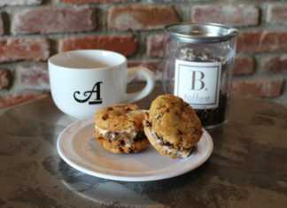 A Restaurant And B Toffee Coffee Cup And Cookies