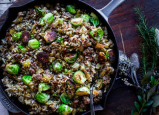Brussel Sprout Apple And Sausage Rice Stuffing