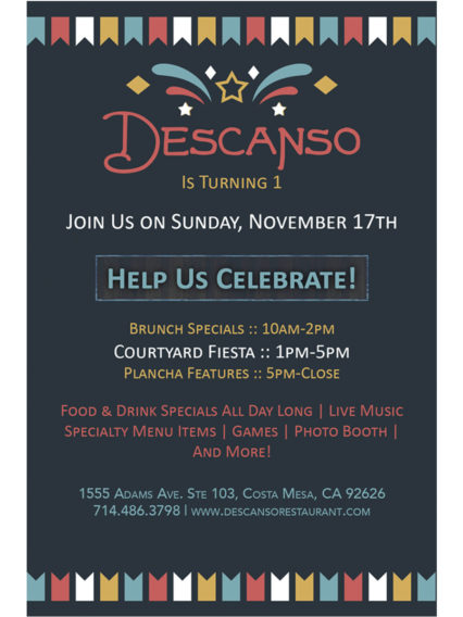 Celebrating One Year Anniversary! @ Descanso- Costa Mesa | Costa Mesa | California | United States