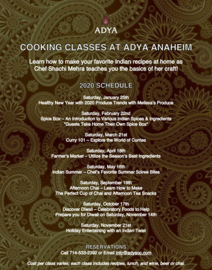 Cooking Classes with Chef Shachi 2020 @ Adya - Anaheim | Anaheim | California | United States