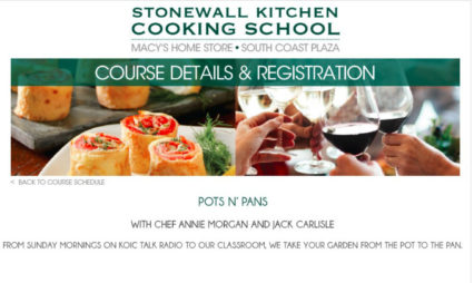 Pots n' Pans Cooking Class @ Stonewall Kitchen Cooking School at Macy's - Costa Mesa | Costa Mesa | California | United States