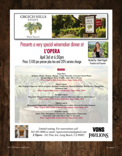 Special Grgich Winemaker Dinner @ L'Opera Restaurant - Long Beach