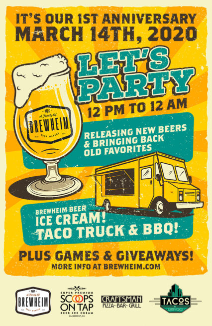 Beer Flavored Ice Cream and More on Brewery's First Anniversary Party @ Brewheim Brewing Co. - Anaheim   Anaheim   California   United States