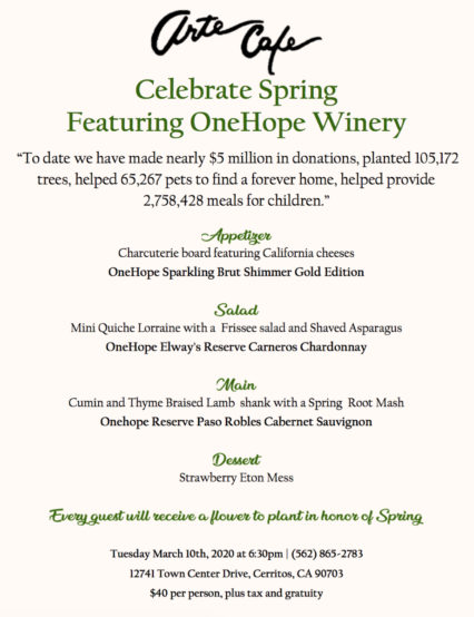 OneHope Winery Wine Pairing Dinner @ Arte Cafe - Cerritos