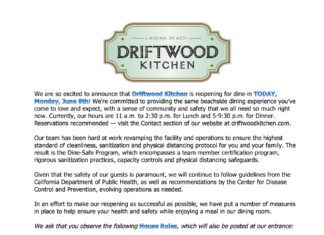 Driftwood Kitchen Reopening