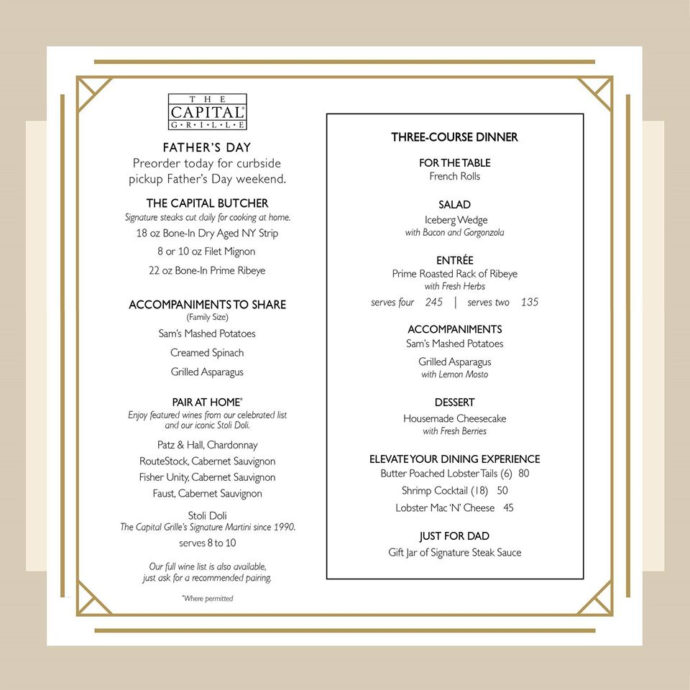 Capital Grille Father's Day Menu