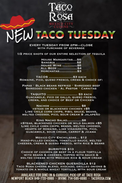 New Taco Tuesdays @ Taco Rosa | Newport Beach | California | United States